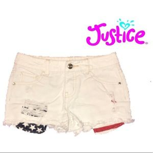 ❤️Justice Stars and stripes Distress  short